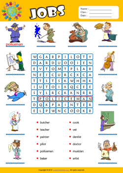 Jobs Word Search Puzzle ESL Vocabulary Worksheet