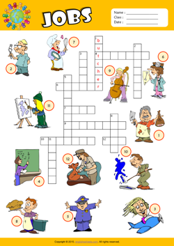 Jobs Crossword Puzzle ESL Vocabulary Worksheet