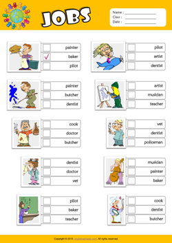 Jobs ESL Multiple Choice Worksheet For Kids