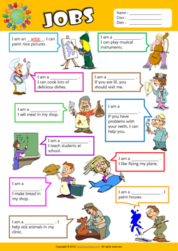 Jobs Find the Words ESL Vocabulary Worksheet