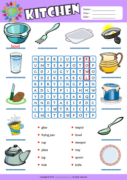 Delightful Kitchen Word Search Puzzle ESL Vocabulary Worksheet