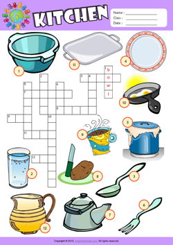 Kitchen ESL Printable Worksheets For Kids 1