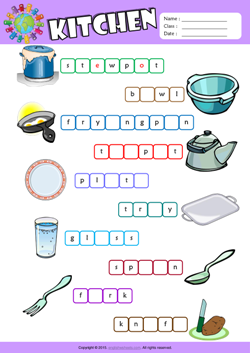 Kitchen Missing Letters in Words ESL Vocabulary Worksheet