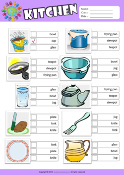 Kitchen ESL Multiple Choice Worksheet For Kids