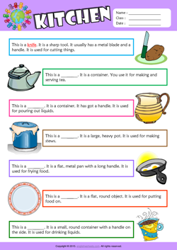 Kitchen Find the Words ESL Vocabulary Worksheet