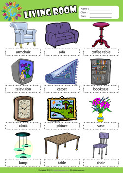 Living Room Picture Dictionary ESL Vocabulary Worksheet