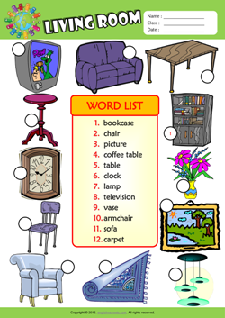 Living Room Esl Printable Worksheets For Kids 3