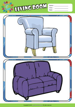Living Room ESL Printable Worksheets For Kids 3