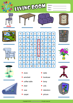 Living room esl printable worksheets for kids 1 for Living room 4 pics 1 word