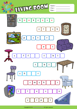 Living Room Esl Printable Worksheets For Kids 2