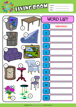 Living room esl printable worksheets for kids 3 for Living room vocabulary