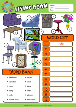 Living Room ESL Find And Write The Words Worksheet For Kids