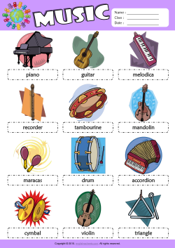 Musical instruments picture dictionary esl vocabulary worksheet