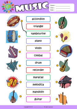 image about Printable Pictures of Musical Instruments known as Musical Equipment ESL Printable Worksheets For Youngsters 1