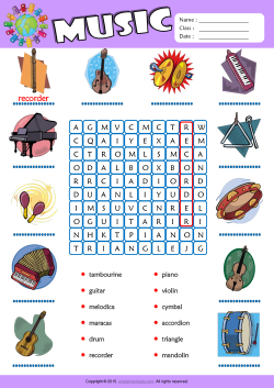 Musical Instruments Word Search Puzzle ESL Vocabulary Worksheet