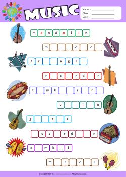 Musical Instruments ESL Printable Worksheets For Kids 2