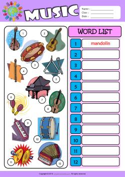 Musical Instruments Esl Printable Worksheets For Kids 3