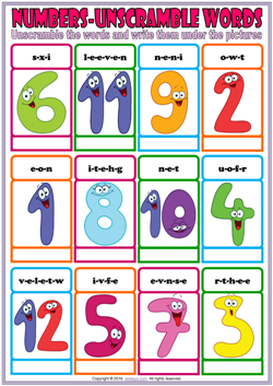 numbers esl vocabulary unscramble the words worksheet for kids
