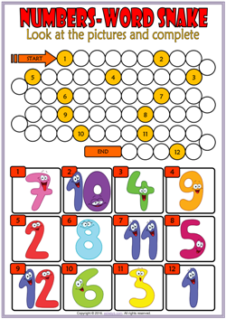 numbers esl vocabulary word snake puzzle worksheet for kids