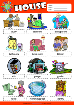 Parts of a House Picture Dictionary ESL Vocabulary Worksheet