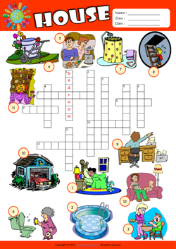 Parts of a House Crossword Puzzle ESL Vocabulary Worksheet