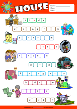 Parts Of A House Esl Printable Worksheets For Kids 2