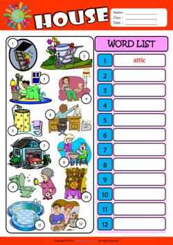 Parts of a House ESL Printable Worksheets For Kids 3