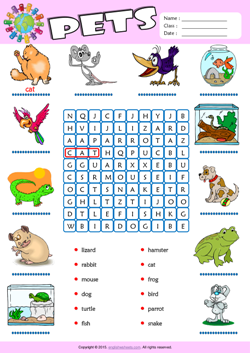 Pets Word Search Puzzle ESL Vocabulary Worksheet