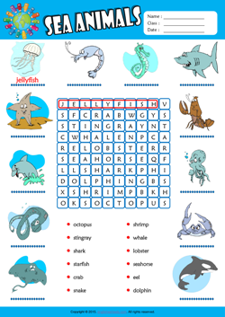 Sea Animals Word Search Puzzle ESL Vocabulary Worksheet