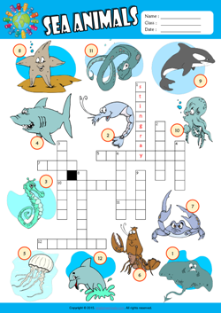 Sea Animals Crossword Puzzle ESL Vocabulary Worksheet