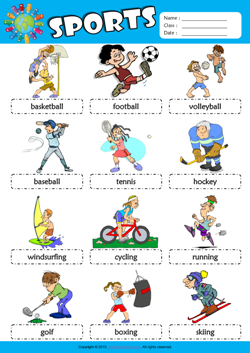 Sports Picture Dictionary ESL Vocabulary Worksheet