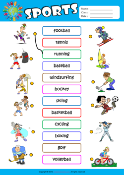 Sports ESL Matching Exercise Worksheet For Kids