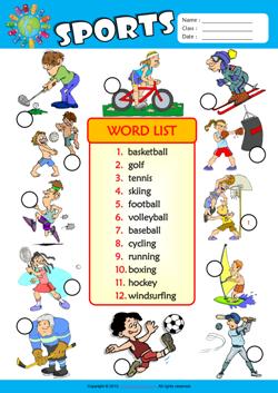sports esl printable worksheets for kids 3. Black Bedroom Furniture Sets. Home Design Ideas