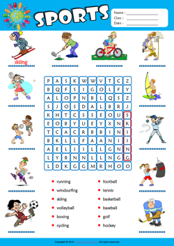 Sports Word Search Puzzle ESL Vocabulary Worksheet