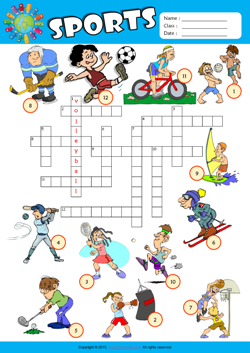 photo relating to Sports Crossword Puzzles Printable called Sports activities ESL Printable Worksheets For Little ones 1