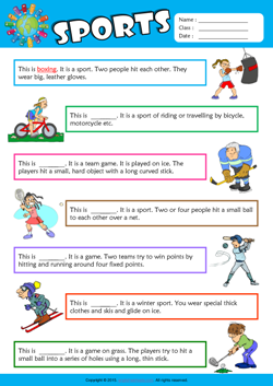 Sports Find the Words ESL Vocabulary Worksheet