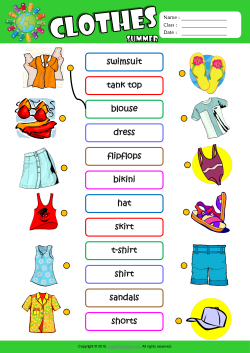 Summer Clothes Esl Printable Worksheets For Kids 1