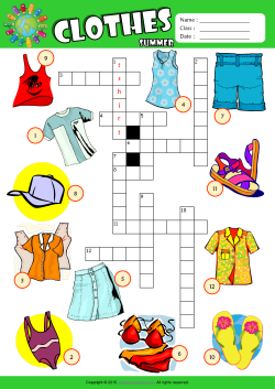 Summer Clothes Crossword Puzzle ESL Vocabulary Worksheet