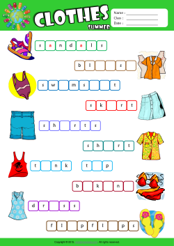 Summer Clothes Missing Letters in Words ESL Vocabulary Worksheet