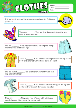 Summer Clothes Find the Words ESL Vocabulary Worksheet