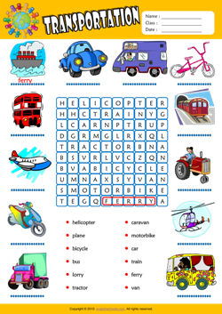 Transportation Word Search Puzzle ESL Vocabulary Worksheet