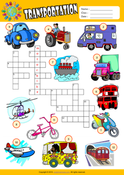 Transportation Crossword Puzzle ESL Vocabulary Worksheet