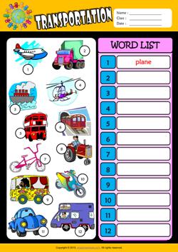 transportation esl printable worksheets for kids 3. Black Bedroom Furniture Sets. Home Design Ideas