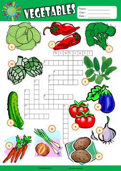 Vegetables Crossword Puzzle ESL Vocabulary Worksheet