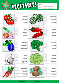 Vegetables ESL Multiple Choice Worksheet For Kids
