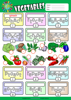 Vegetables Unscramble Words ESL Vocabulary Worksheet