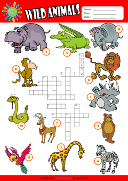 Wild Animals Crossword Puzzle ESL Vocabulary Worksheet