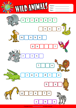 Wild Animals Missing Letters in Words ESL Vocabulary Worksheet