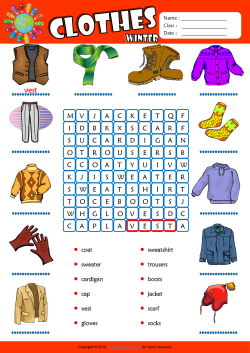 Winter Clothes Word Search Puzzle ESL Vocabulary Worksheet