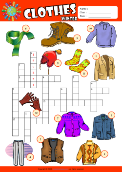 Winter Clothes Crossword Puzzle ESL Vocabulary Worksheet